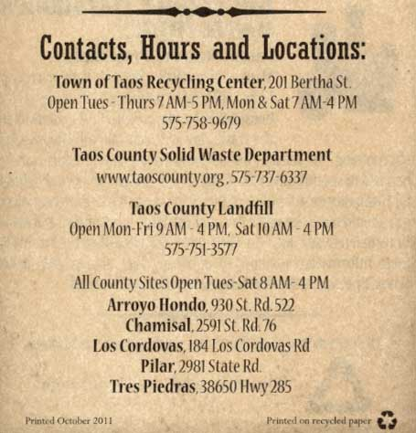 Taos County Solid Waste Information