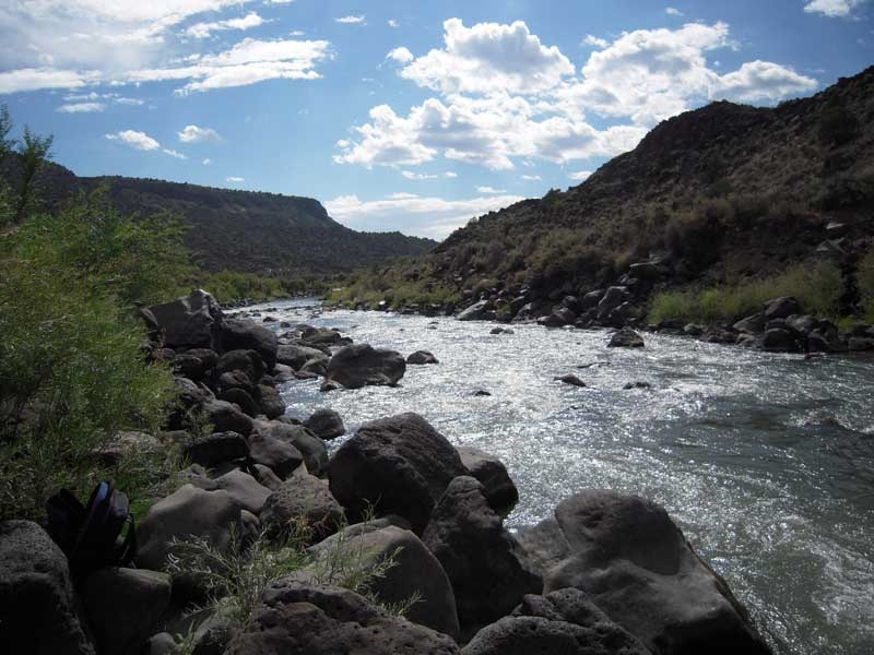 Looking south on the Rio Grande just below the confluence of the Rio Pueblo de Taos